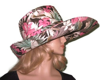 Brown Pink White Floral  Print Wide Brim Sun Hat