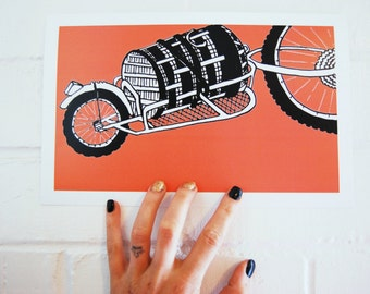 Laundry Day print salmon pink / cargo bicycle / digital art print 7 x 11