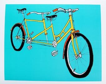 Tandem Bicycle Print / teal yellow & orange