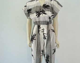 80s cotton TROPICAL JUMPSUIT size medium