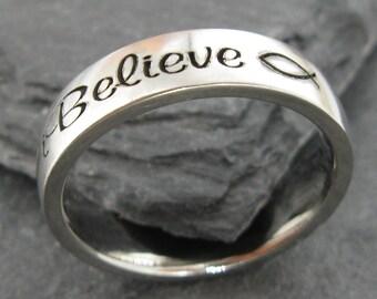 iBelieve stainless steel comfort ring - Engraved Jewelry - Christian Ring - Spiritual - Jesus fish - Icthus