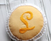 Embroidered Felt Ornament - Personalized - Door Hanger - Initial - Monogram - Small Plush Pillow - Decoration - Yellow Letter L