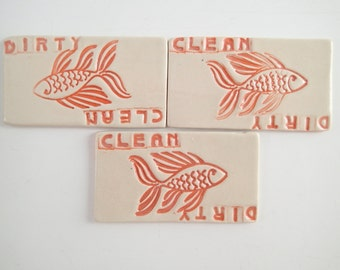 """Ceramic Dishwasher Magnet - Dirty or Clean Magnet - Clean Dishes - Dirty Dishes - Kitchen Magnet - non-scratching magnet -  Approx 1.5"""" x 3"""""""