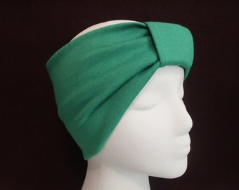 KELLY GREEN Turban Headband / Hair Bands / Wide Head Wrap Turband / Boho Hair Covering Wrap / Jersey Stretch Ruched with Fabric Wrap