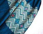Vintage Embroidered Fabric - 35 x 52 - Woven Textile in Midnight Peacock Blue