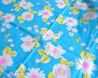 Vintage Fabric - Mod Floral Swiss Dot - 35 x 41 Polyester Semi Sheer Flocked