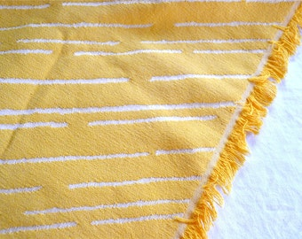 Vintage Fabric - Yellow and White Upholstery with Fringe - By the Yard