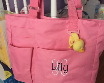 Personalized Girls Super Feature Tote - Initial and Name Monogrammed Diaper Bag - Large Size Solid Color Baby Shower Monogram Gift Idea