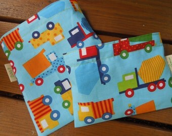 Reusable sandwich and/or snack bags - Reuse sandwich bag - Boys reusable bags set -  Trucks - Toddlers lunch bag - Pls read notes