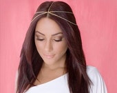 Gold or silver plated twisted 2 tier chain headpiece