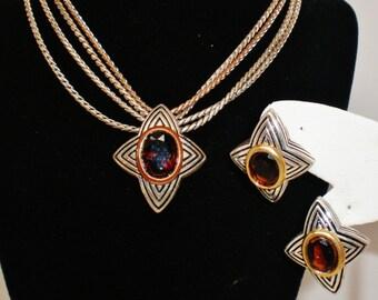 Vintage Avon NR Star Earrings And Necklace Matching Set Brown Crystal Rhinestone 4 Strands Serpintine Chain  Retro Art Deco Runway Statement