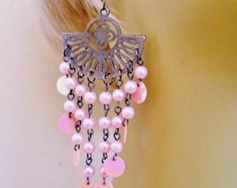 "Vintage  Chandelier Earrings Rose Quartz Lucite Pearls Black Chain Linked 4 1/4"" Art Nouveau Retro Bride Mothers Day Runway Statement"