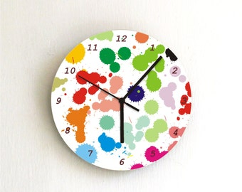 Paint Spots Rainbow colorful modern kids bedroom unique handmade graphic design wall clock