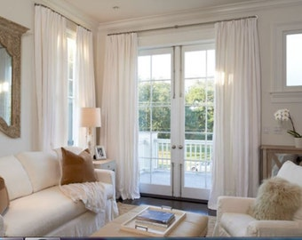 Pair (2 panels) unlined white linen ROD POCKET curtains, custom made drapes, solid white panels,
