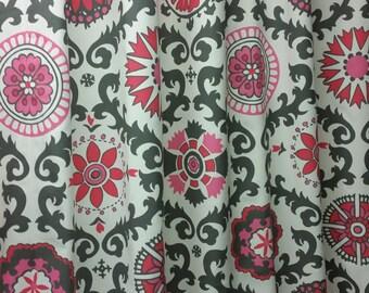 Pair (2 curtain panels) designer drapes, Rosa Flamingo