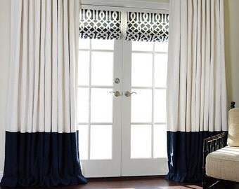 Flat panels, rod pocket drapes, Pair off white and navy blue color block linen drapes, linen colorblock curtains, all colors available