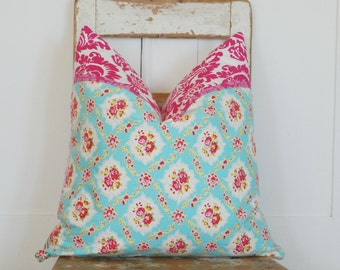 Pink Cottage Chic Pillow, Pink Boho Pillow, Farmhouse Pillows, Accent Pillows, Toile Pillow, Bohemian Pillows, Hot Pink Pillows, Ticking