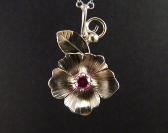 Hibiscus Sterling Silver Pendant Handmade Metalwork