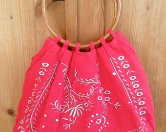 Vintage 1950s Embroidered Linen Handbag With Bamboo Handles