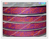 New 3/8 25 Yards ORANGE Swirls Loops Scrolls on PURPLE Eggplant Grosgrain Ribbon Hair Bow scrolls halloween holiday sports cheer craft cards