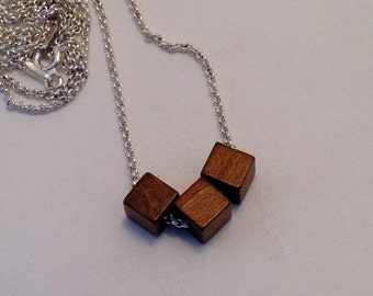 Three Wooden Cube Bead Necklace Long Silver Chain