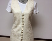 Vintage Tina Hagen yellow embroidered Vest size small