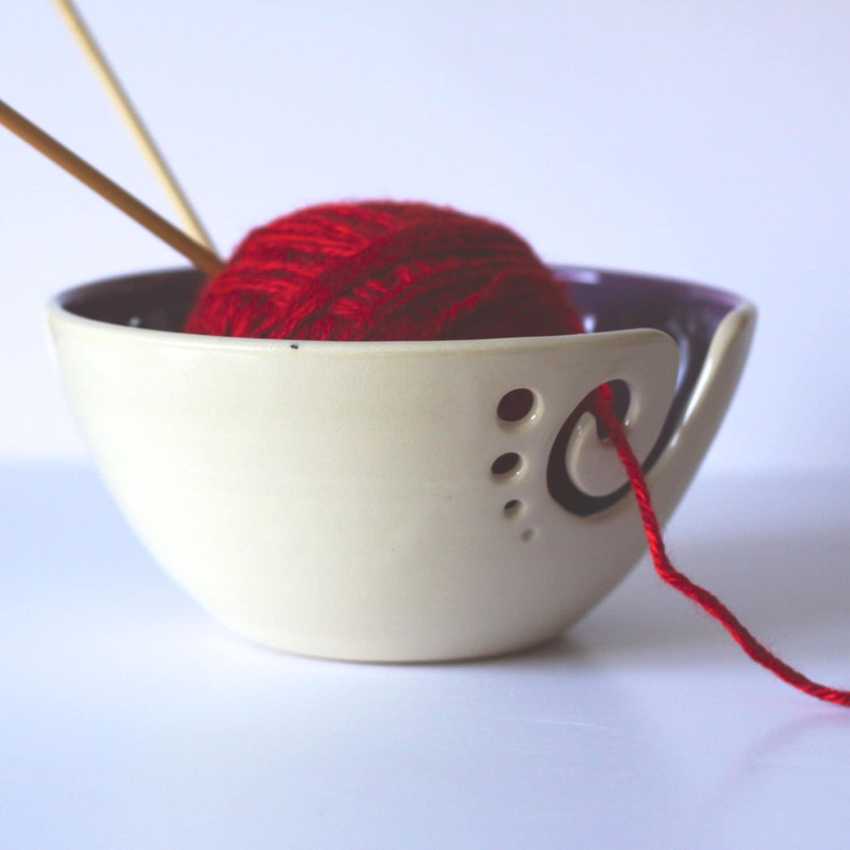 Knitting Yarn Bowl : Purple ceramic yarn bowl knitting by andersenpottery