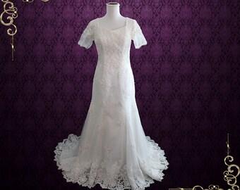 Bohemian Wedding Dress   LDS Lace Wedding Dress with Sleeves   Modest Wedding Dress   Ivory Lace Wedding Dress   Kate