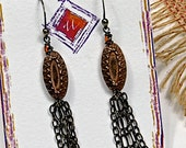 Bohemian Vintage, Dangle, Orange glass, Wire Wrap, Casual Long Earrings