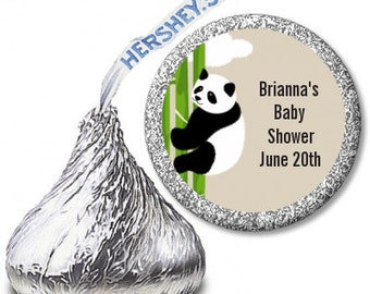 Panda  - Baby Shower / Birthday Party Personalized Hershey Kiss Stickers - Party Chocolate Favor Labels - 108 stickers per sheet