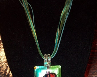 Reversable Dichroic Glass Pendant With Extender