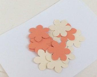 Coral and Ivory Flower Confetti  Peach Confetti Cream Confetti Weddings Showers Custom Colors