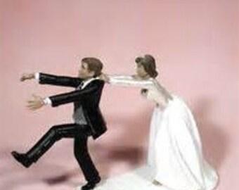 Custom AA Bride and Groom Run Away Groom Couple African American Wedding cake topper-Black Ethnic Couple Mr Love Mrs Fun Romantic Figurine