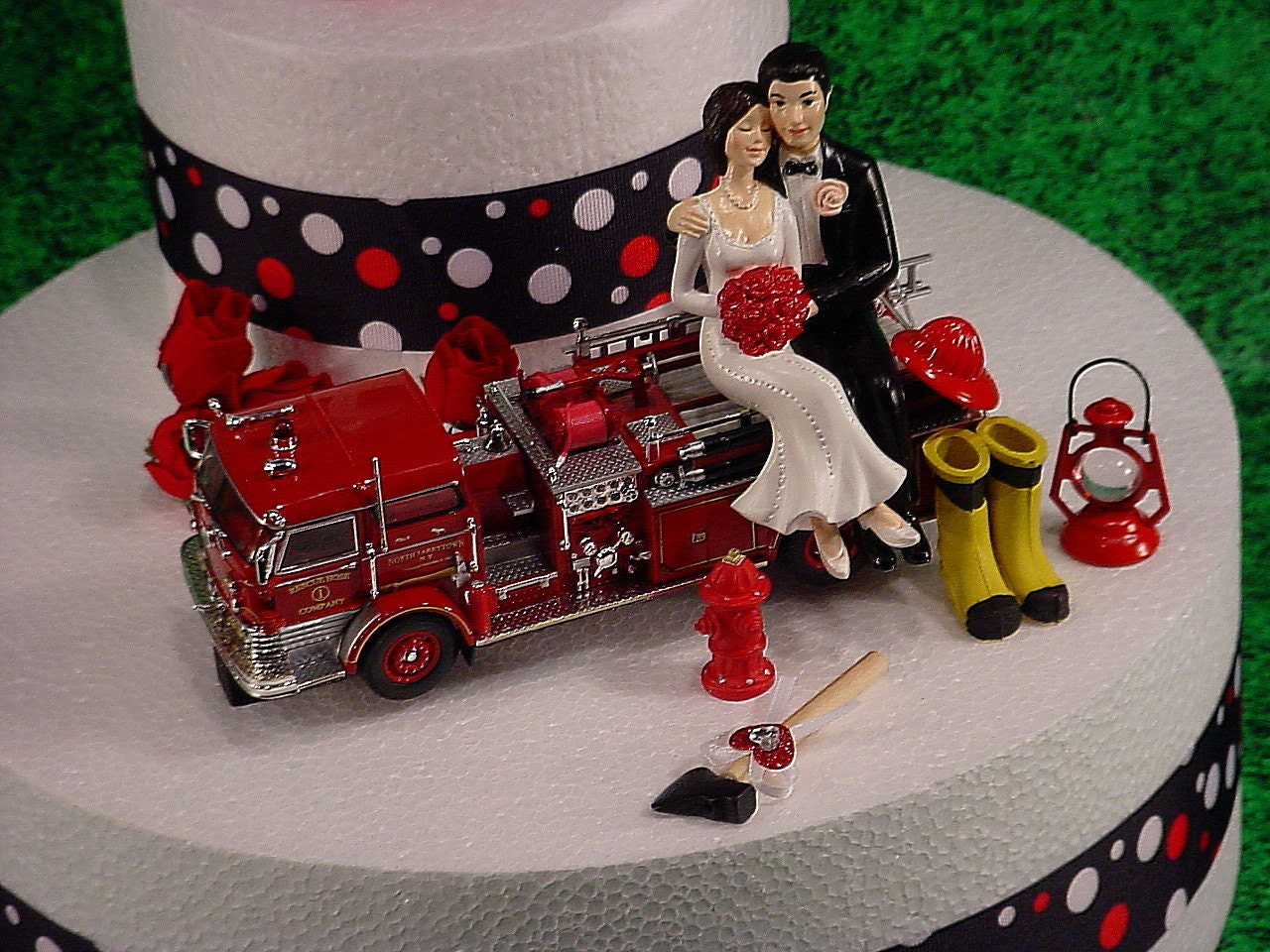 NO Fire Bride And Groom Firefighter Wedding Cake Topper Custom