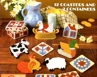 Country Coasters Cows Quilt Blocks Pig Cow Mallard Rooster Goose Sheep Plastic Canvas Needlepoint Embroider Craft Pattern Leaflet 321