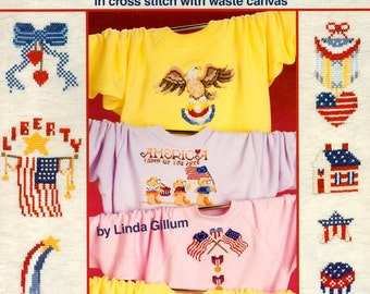 Wear America Stars Stripes Flags Bald Eagle Heart USA God Bless America Patriotic Counted Cross Stitch Embroidery Craft Pattern Leaflet 3558