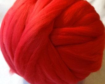 Superfine Merino Wool Roving - Scarlet Wool Roving - Red Wool Roving - Color 19 Wool Roving - 8oz