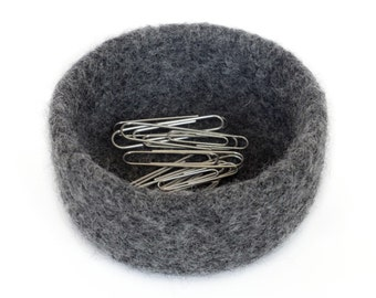 Gray Felt Bowl Desk Organizer Knitted Felted Basket Catch All Potpourri Container Storage Student Back to School Co Worker Gift