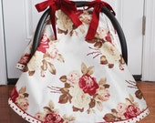 Infant Car Seat Canopy Cover in Vintage Rose Floral