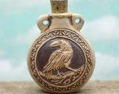 Raven Bottle, Raven Pendant,  Clay Pendant, Perfume Bottle,  Clay  Beads -R196