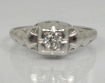 Sweet Vintage Diamond Engagement Ring - 0.10 Carat Diamond - 14K White Gold