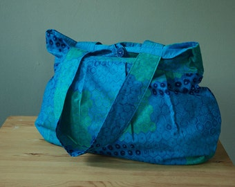 Purse or Project Bag with Blue Honeycomb Pattern