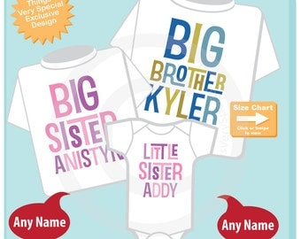 Boys and Girls Set of Three, Personalized Big Brother and Big Sister Shirt, and Little Sister Shirt or Onesie Announcement (03192015a)