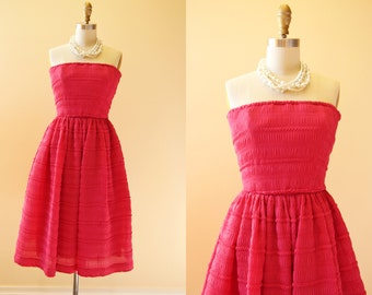 80s Dress - Vintage Victor Costa 80s Dress - Shocking Pink Chiffon Strapless Prom Party Dress XS - Pop Music