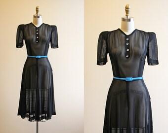 R E S E R V E D 40s Dress - Vintage 1940s Dress - Black Mesh Sheer Rayon w Rhinestones Puff Sleeve Swing Dress S - Vesper Star