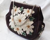 Vintage Tapestry handbag with Daisy pattern
