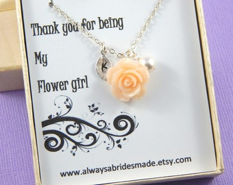 Flower Girl Gift, Thank you for being my Flower Girl  or Junior Bridesmaid Necklace, Gift Boxed Jewelry With Personalized Hand Stamped Leaf