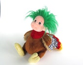 Green haired Harpy soft sculpture, altered stuffed mutant animal