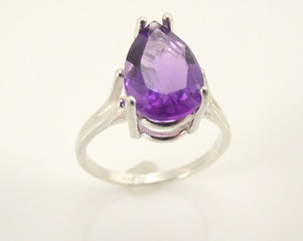 Faceted Amethyst Sterling Silver Ring, Silver Ring, Size 7