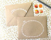 set of 4 ~ blank note cards with embossed/ lined envelopes